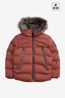 Дутая куртка с искусственным мехом на капюшоне (3-16 лет)