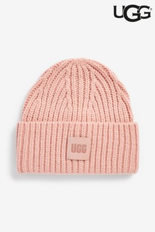 UGG® Gerippte Grobstrickmütze, Pink