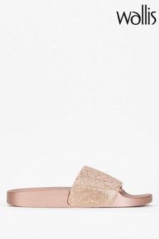 Wallis Shimmering Pink Diamanté Sliders