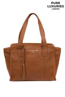 PureLuxuries London Tan Alexandra Leather Handbag