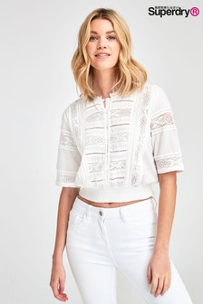 Blusa blanca con manga corta de Superdry