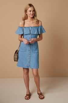 Off The Shoulder Button Through Dress