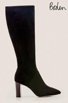 Черные эластичные сапоги с заостренным носком Boden