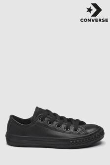 Черные низкие кожаные кроссовки для детей Converse Chuck Taylor