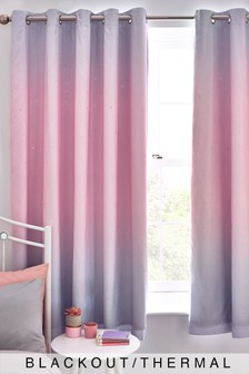 Pink Ombre Glimmer Eyelet Blackout Curtains