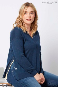 Live Unlimited Navy Jumper With Side Splits And Studs