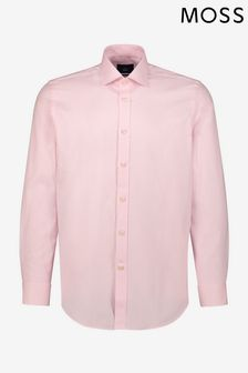 Moss 1851 Tailored Fit Pink Single Cuff Dobby Shirt