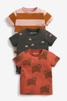 3 Pack Printed and Stripe T-Shirts (3mths-7yrs)