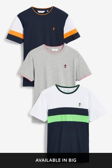 Colourblock Regular Fit T-Shirts Three Pack
