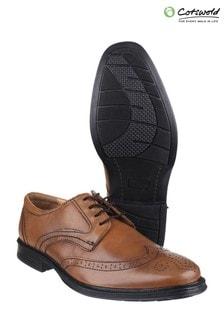 Cotswold Mickleton Black Lace Up Brogue Shoes