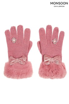 Monsoon Pink Bow Diamond Ring Gloves