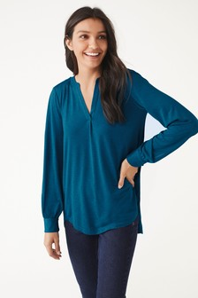 Long Sleeve Notch Neck Top