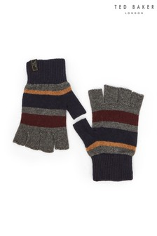 Ted Baker Red Leeson Rib Detail Knitted Gloves