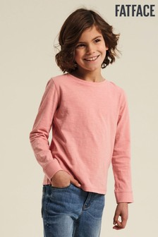 Ružové tričko s jednoduchou manžetou FatFace
