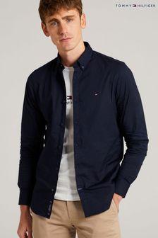 Tmavomodrá popelínová strečová košile Tommy Hilfigerzúženého střihu
