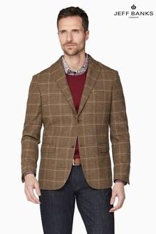 Jeff Banks Brown Tweed Check Tailored Fit Blazer