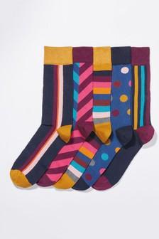 Bunt gemusterte Socken, 5er-Pack