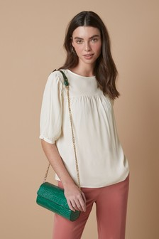 Puff Sleeve Gathered Yoke Top