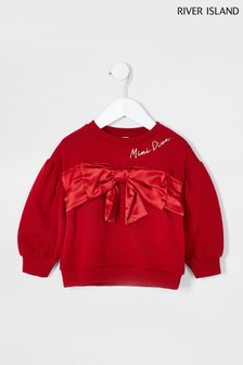 River Island Red Satin Bow Sweater