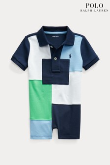 Ralph Lauren Navy Colourblock Logo Romper