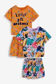 2 Pack Little Big Dreamer Tropical Cotton Short Pyjamas (9mths-12yrs)