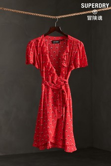 Superdry Red Ditsy Wrap Dress