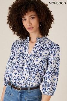 חולצה אלגנטית של Monsoon דגם Francine פרחונית מפשתן טהור בכחול