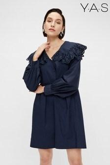 فستان قطن عضوي فضفاض ياقة Tirella أزرق داكن من Y.A.S
