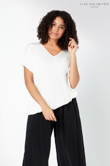 Live Unlimited White Ivory Jersey Cocoon Top