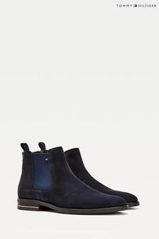 Tommy Hilfiger Blue Signature Suede Chelsea Boots