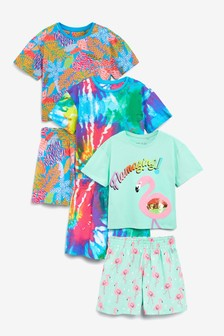 3 Pack Sequin Flamingo/Tie Dye Print Cotton Pyjamas (3-16yrs)