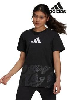 adidas T-Shirt mit Spitze und Camo-Print