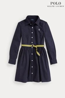 Ralph Lauren Oxford-Hemdkleid mit Logo, Marineblau