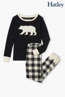 Кремовый пижамный комплект в шотландскую клетку с аппликацией Hatley