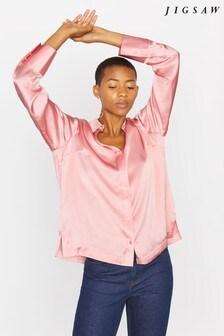 Jigsaw Pink Silk Satin Shirt