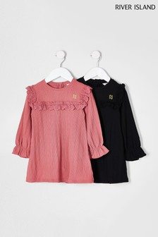 River Island Pink Dark Smock Dresses Two Pack