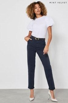 מכנסי כותנה בצבע כחולעם כפתורים שלMint Velvet