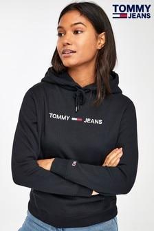 Tommy Jeans Black Clean Linear Logo Hoody