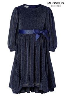 שמלה עם שרוול ארוך מנצנצת של Monsoon בכחול כהה