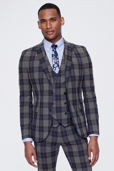 Super Skinny Fit Tartan Check Suit