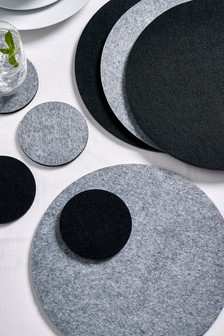Set of 4 Reversible Felt Placemats and Coasters