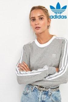 חולצת טי עם שרוולים ארוכים ו-3 פסים מסדרת Originals של adidas באפור