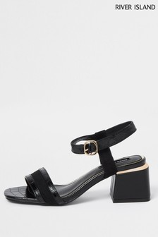 River Island Black 7651 Gold Splice Block Heels