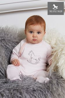 The Little Tailor Pink Stripe Jersey Rocking Horse Sleepsuit