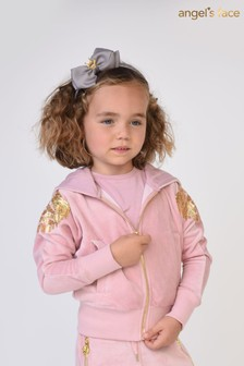 Angel's Face Pink Isla Sequin Wings Velour Hoody