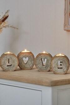 Набор из 4 подсвечников для чайных свечей в виде слова Love с отделкой под дерево