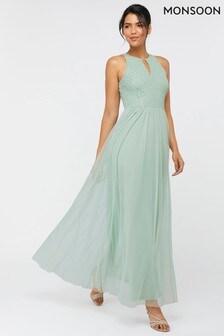 Monsoon Green Sophia Embellished Tulle Maxi Dress