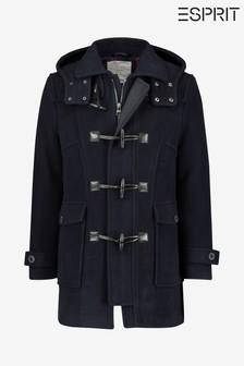 Синее пальто дафлкот на подкладке в клетку Esprit