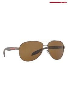 Коричневые солнцезащитные очки Prada Sport
