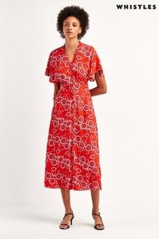 Whistles Red Ella Button Diagonal Floral Dress